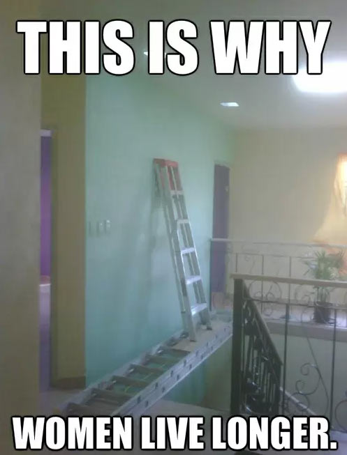 this is why women live longer, ladders, dangerous, meme