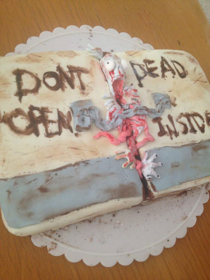 the walking dead, cake, art, win, don't open dead inside