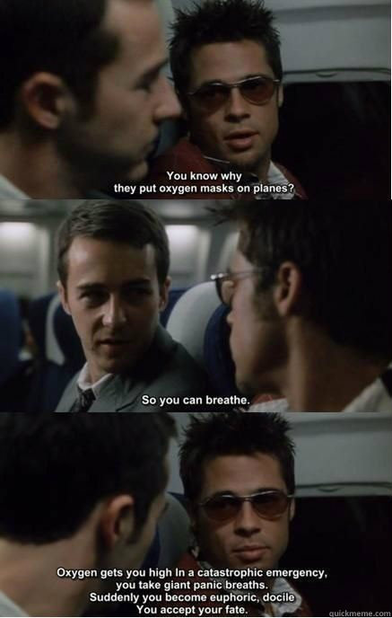 fight club, oxygen masks, accept your fate