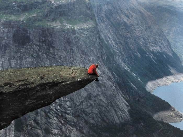cliff, sitting, height, scenery, crazy, omg