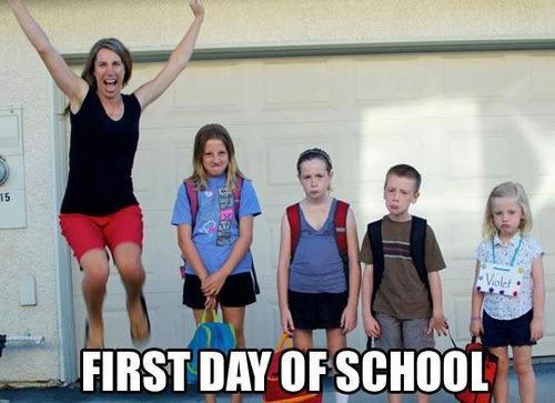 first day of school, parents happy, kids sad