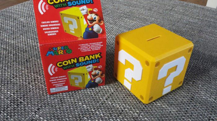 nintendo, piggy bank, box, dollar, question mark, win, product