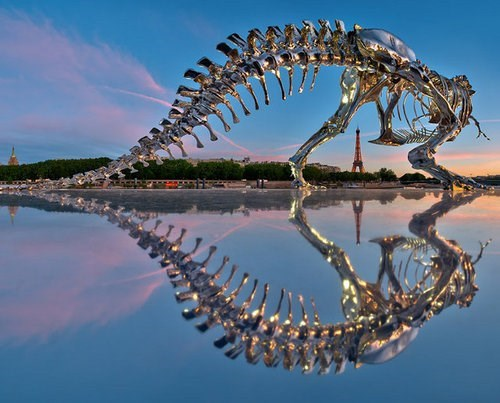 paris, art, sculpture, skeleton, tyrannosaurus rex