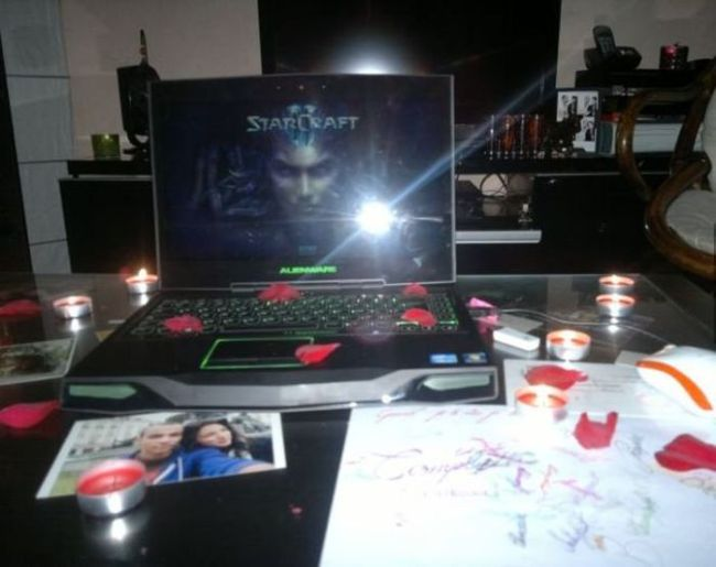 laptop, roses, starcraft, romantic, lol