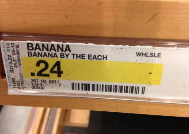 engrish, by the each, banana, product label