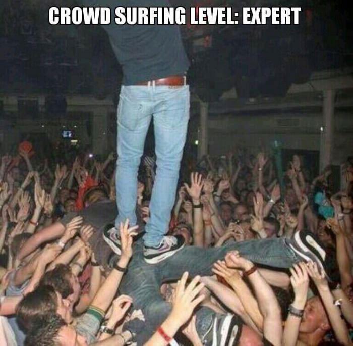crowd surfing level, expert, meme, lol