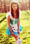 cute girl coplsaying alice in wonderland, costume