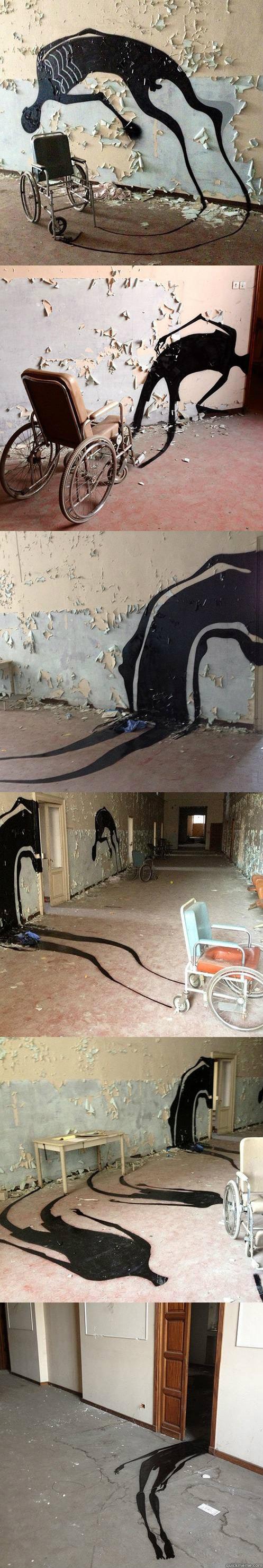 painting shadows, abandoned psychiatric hospital