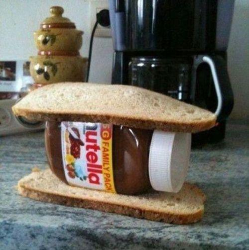 nutella, sandwich, jar