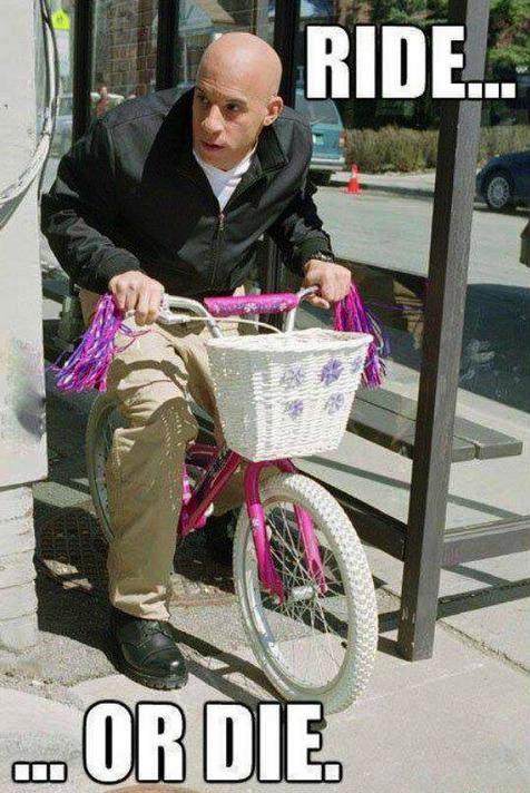 ride or die, vin diesel riding a little girl's bike