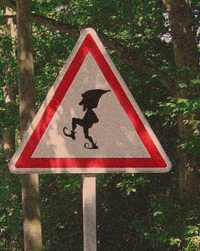 street sign, elf, wtf, red triangle