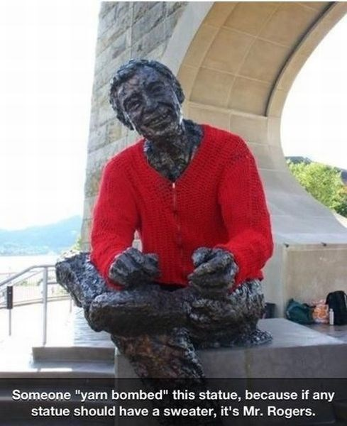 mr rogers, statue, wool sweater