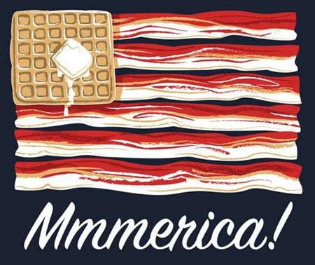 'murica, bacon, waffles, butter, flag