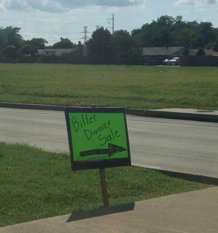 bitter divorce sale, garage, sign, lol