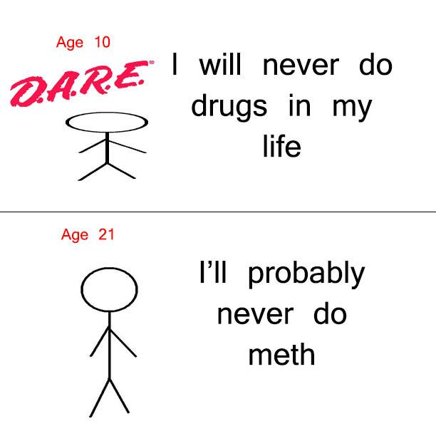 age 10, I will never do drugs in my life, age 21, I'll probably never do meth