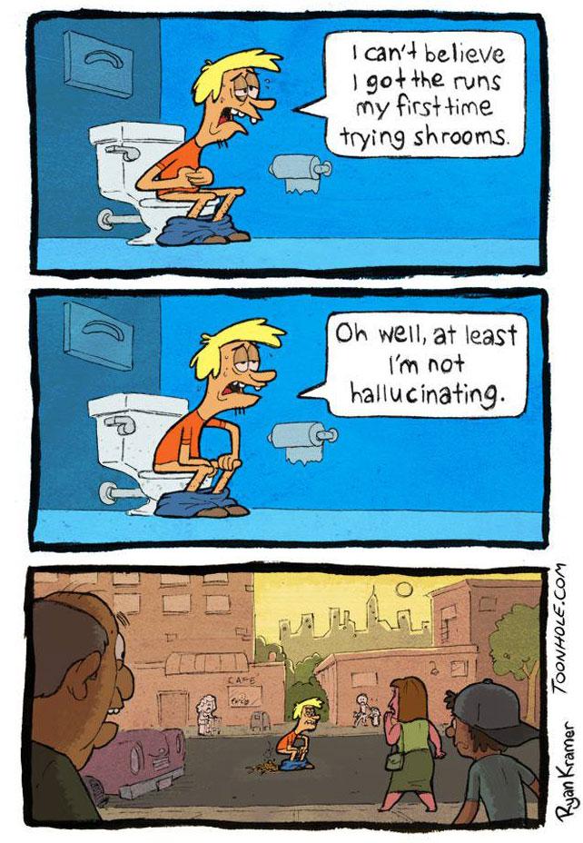 magic mushrooms, hallucinating, runs