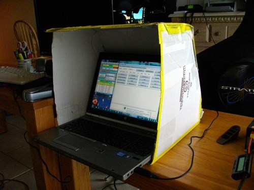 pizza box, privacy, laptop