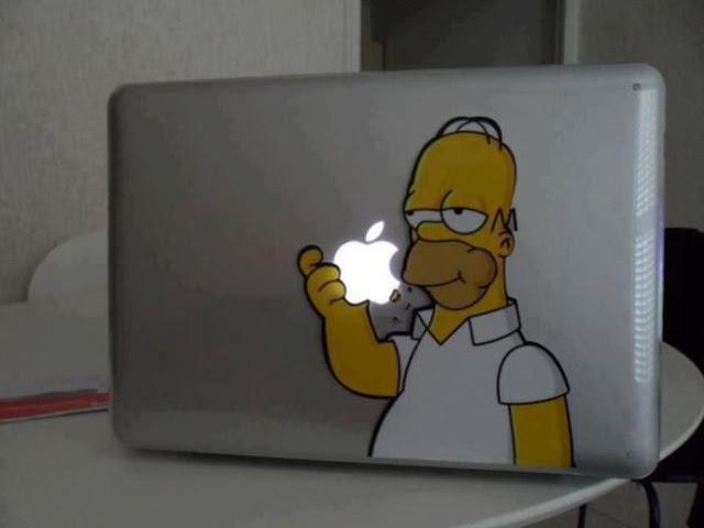 decal, sticker, homer simpson, macbook, apple