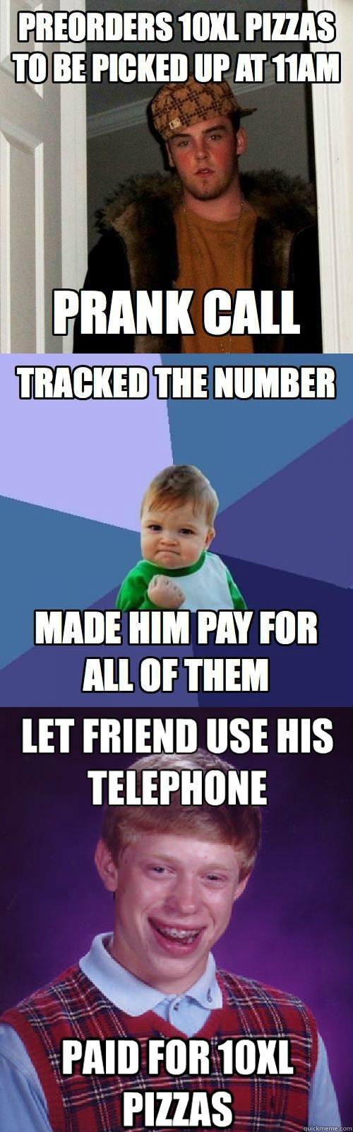 meme, scumbag steve, win kid, prank call, pizza, bad luck brian