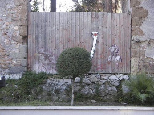 street art, fence, ostridge, graffiti, hacked irl, bush, tree