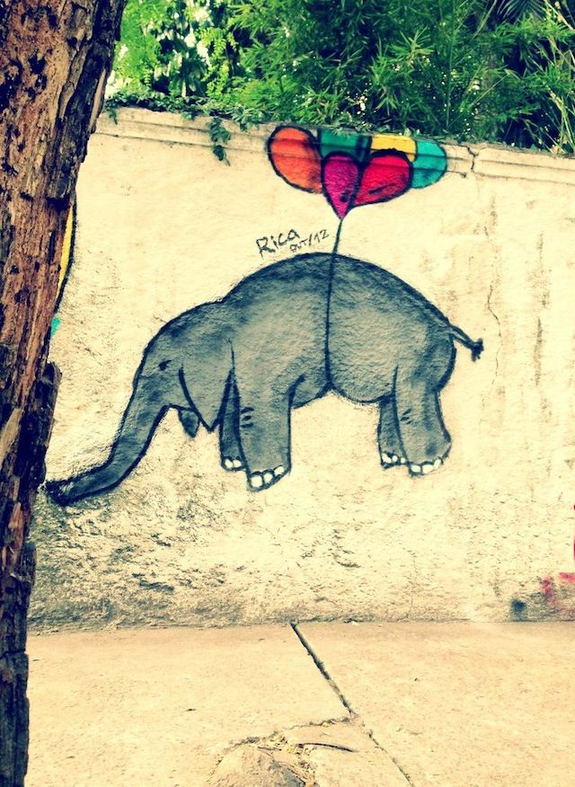 flying elephant, street art de rue, graffiti