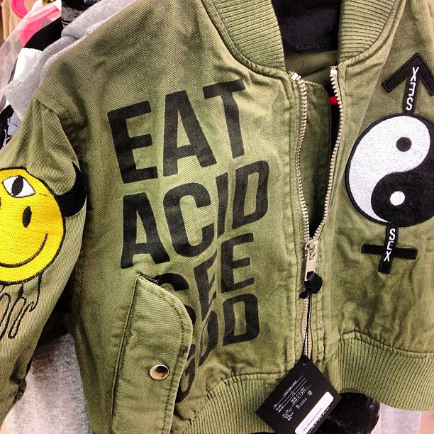 eat acid see god, jacket, ying yang, happy face