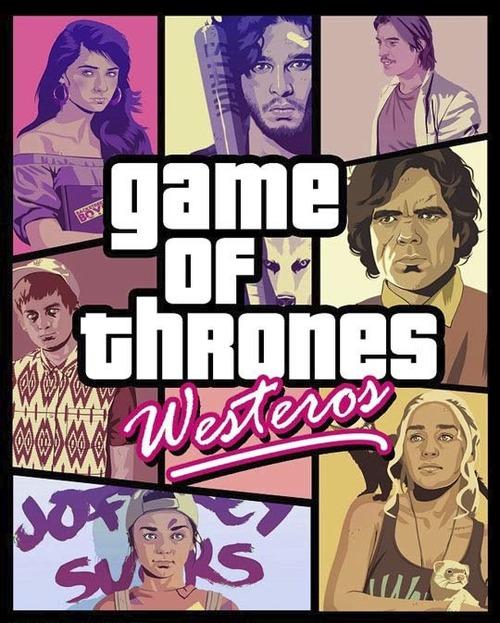 game of thrones, westeros, gta poster parody