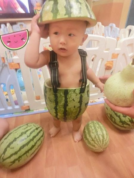 watermelon, asian baby, poorly dressed, cute, lol