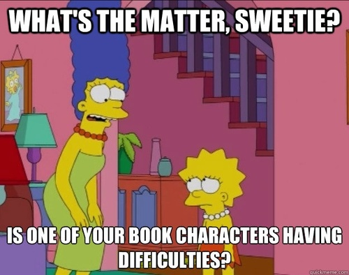 marge and lisa simpson, meme, book characters, what's wrong, sad
