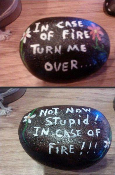 rock, troll, in case of fire, lol