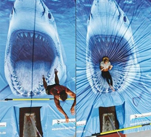 pole vault, shark, mouth, perspective, mat cover picture