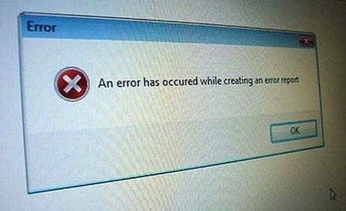 an error has occurred while creating an error report, windows error dialog