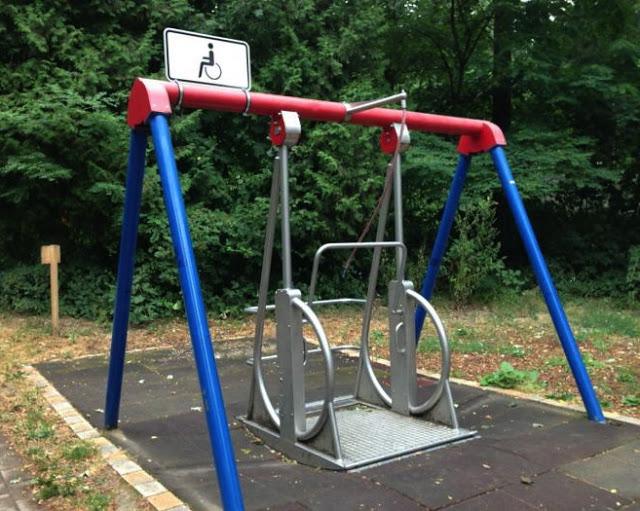 a swing set for wheelchair bound handicap children