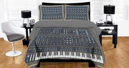 bed, synthesizer, sheets, pillows, mixer, musician, win