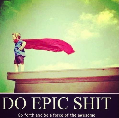 do epic shit, kid, cape, superhero, win