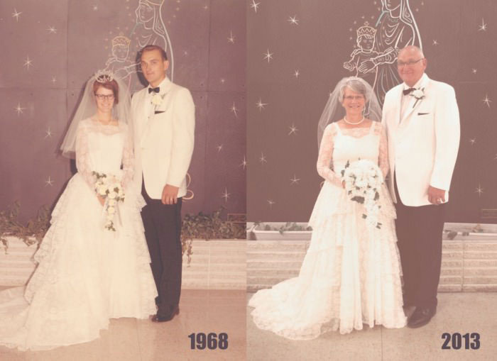 then and now, marriage, wedding picture