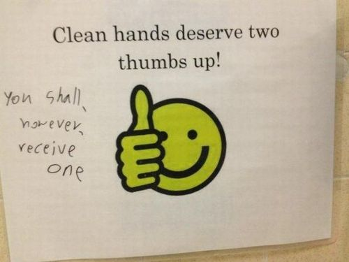 two thumbs up, sign, fail, clean hands