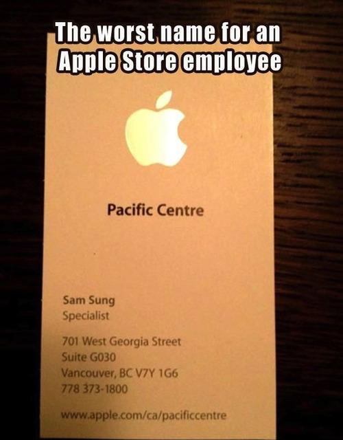 apple employee, sam sung, business card
