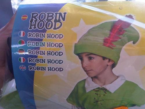 robin hood, costume, label, redundant, packaging, product