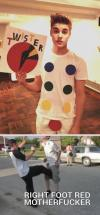 justin bieber, twister, right foot red, lol