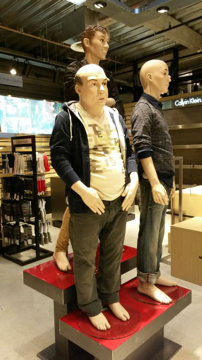 realistic mannequin, old chubby man
