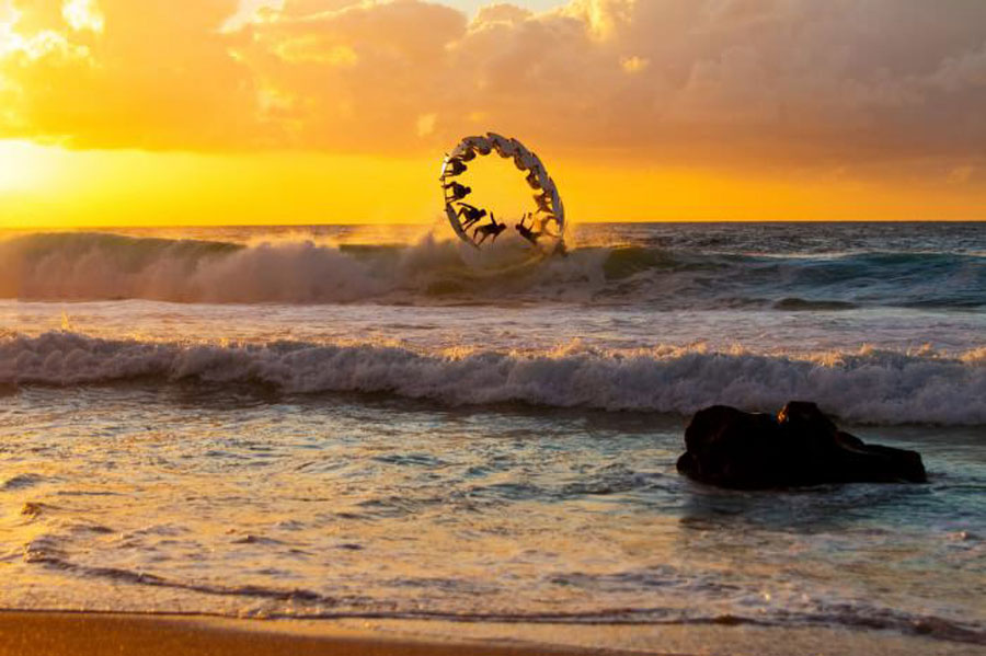 surfing, stop motion, circle, sunset, ocean, cool, scenery