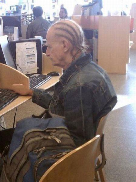 elderly, poorly dressed, hair, braids, corn rows, wtf