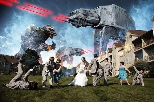 wedding photograph, star wars scene, godzilla, lol, marriage
