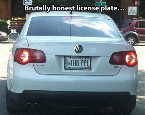car, vanity plates, i hate people