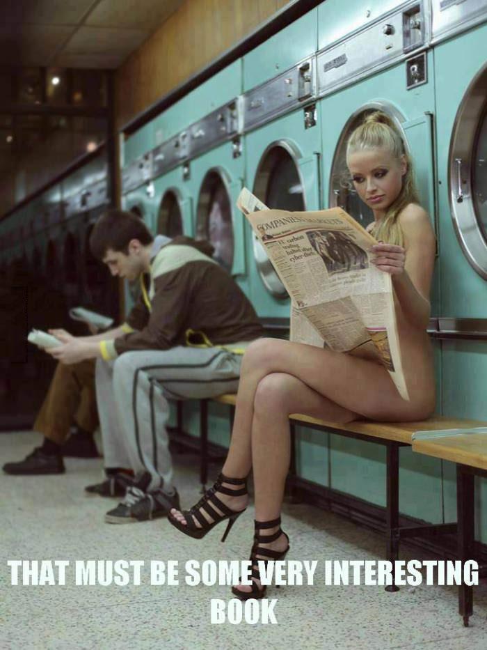 interesting book, laundromat, naked woman, newspaper, sexy
