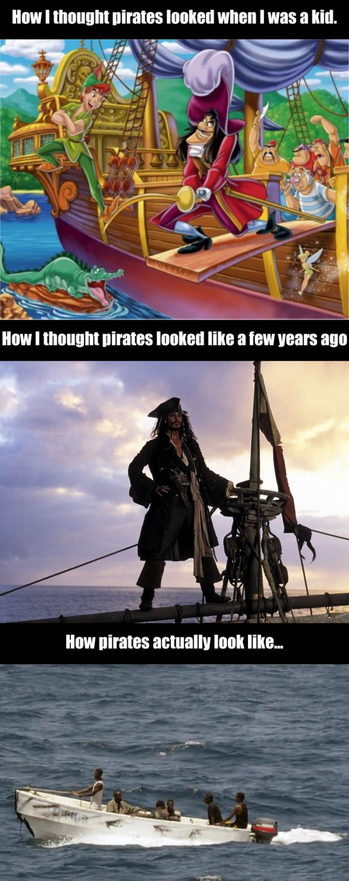 pirate, expectation, reality, cartoon, pirates of the caribbean, somalia