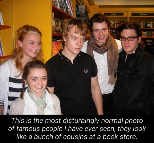 actors, game of thrones, young, cast, story, cousins at a book store