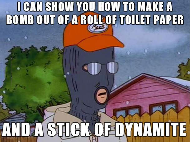 stick of dynamite, king of the hill, roll of toilet paper