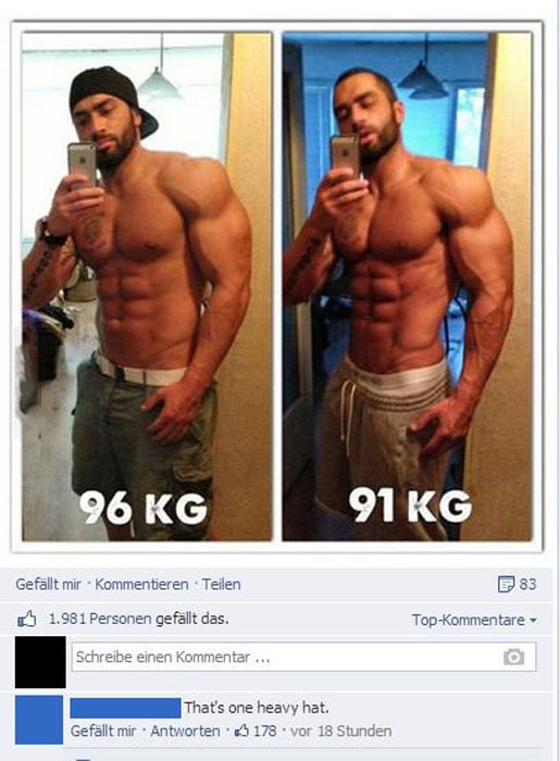 one heavy hat, facebook, before and after, comment, lol